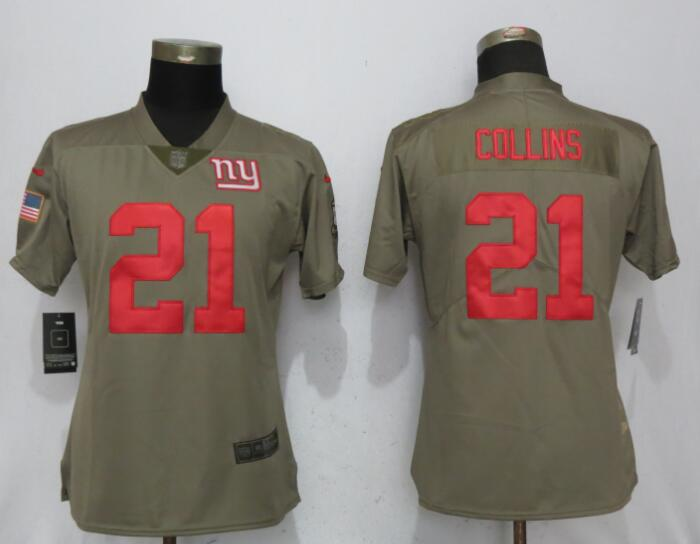 Women New York Giants 21 Collins Nike Olive Salute To Service Limited NFL Jerseys