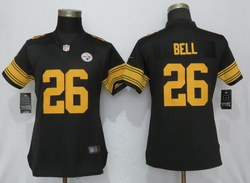 Women Pittsburgh Steelers 26 Bell Navy Black New Nike Color Rush Elite Jersey