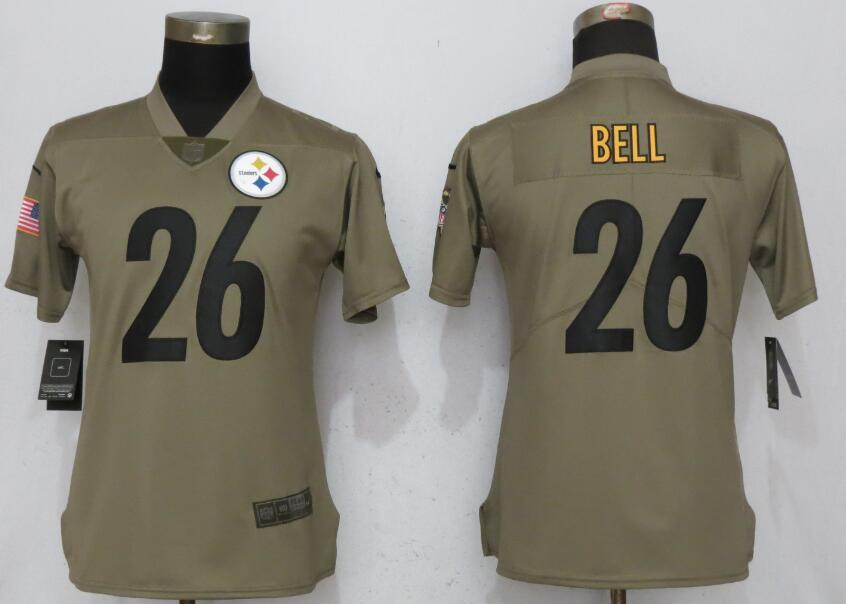 Women Pittsburgh Steelers 26 Bell Nike Olive Salute To Service Limited NFL Jerseys