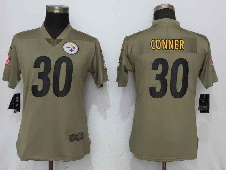 Women Pittsburgh Steelers 30 Conner Nike Olive Salute To Service Limited NFL Jerseys