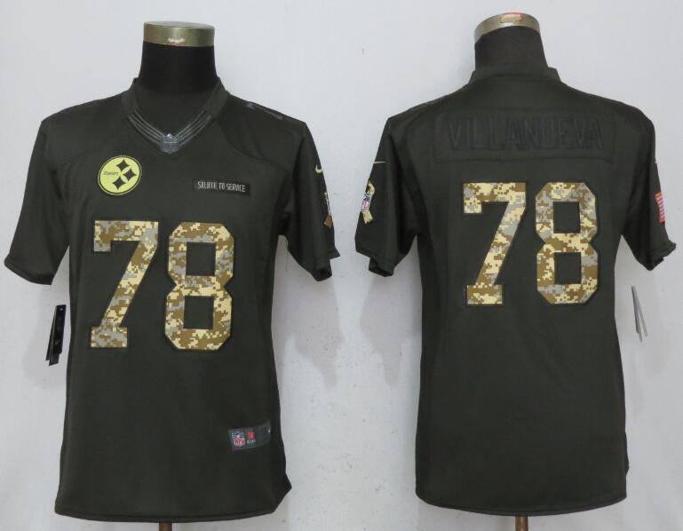 Women Pittsburgh Steelers 78 Villanueva Green Nike Salute To Service Limited Jerseys