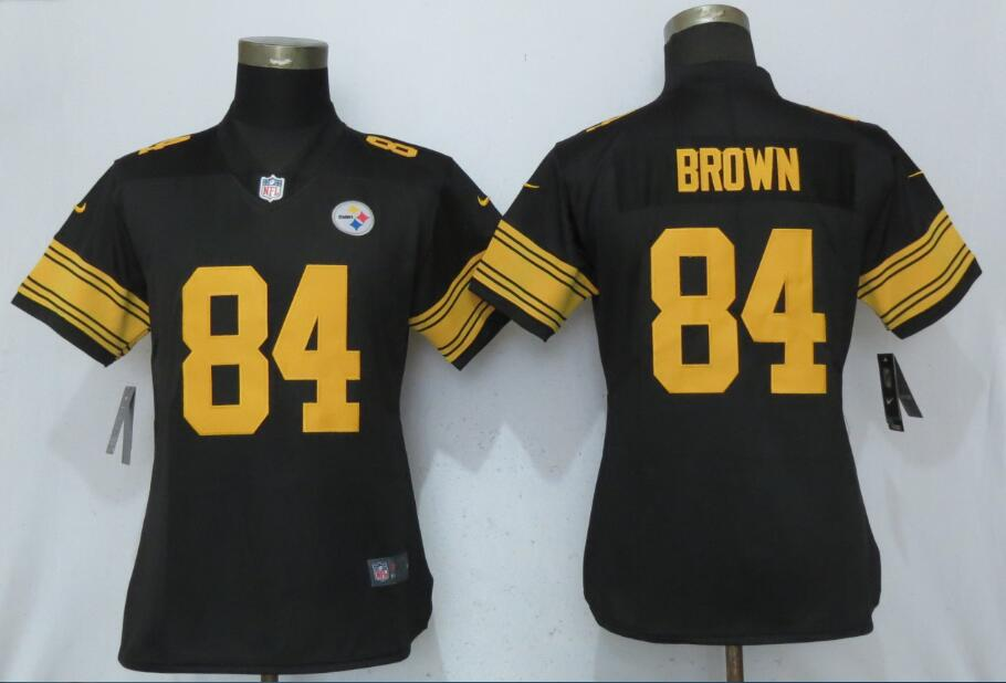 Women Pittsburgh Steelers 84 Brown Navy Black New Nike Color Rush Elite Jersey