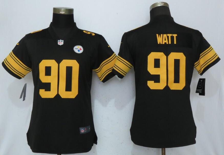 Women Pittsburgh Steelers 90 Watt Navy Black New Nike Color Rush Elite Jersey