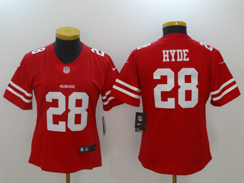 Women San Francisco 49ers 28 Hyde Red Nike Vapor Untouchable Limited NFL Jerseys