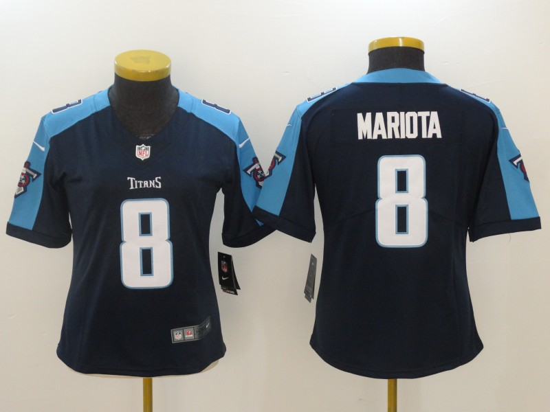 Women Tennessee Titans 8 Mariota Black Nike Vapor Untouchable Limited NFL Jerseys