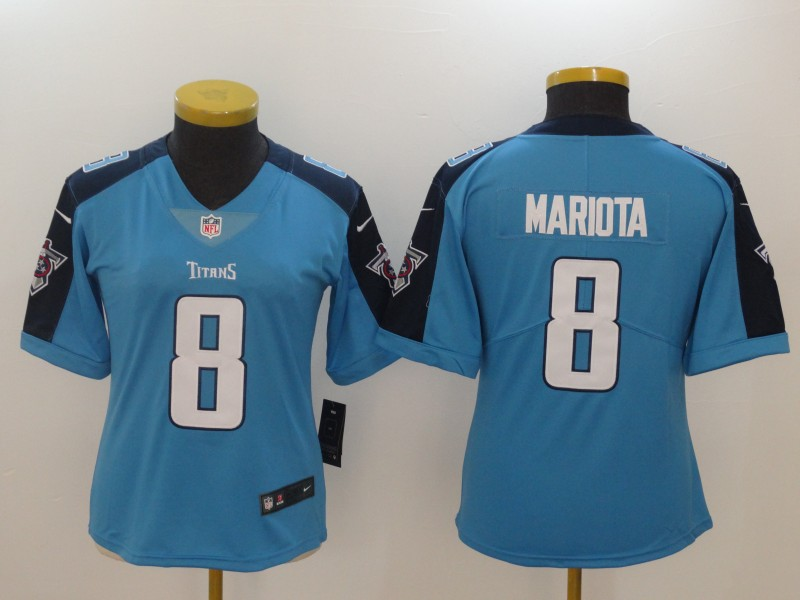 Women Tennessee Titans 8 Mariota Blue Nike Vapor Untouchable Limited NFL Jerseys