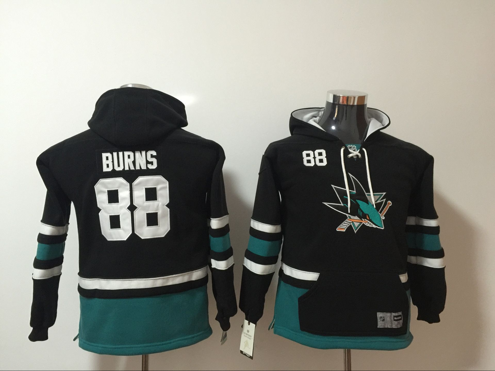 Youth 2017 NHL San Jose Sharks 88 Brent Burns Black Hoodie