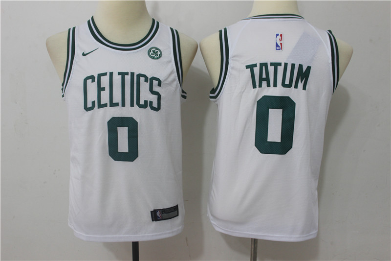 Youth Boston Celtics 0 Tatum White Game Nike NBA Jerseys