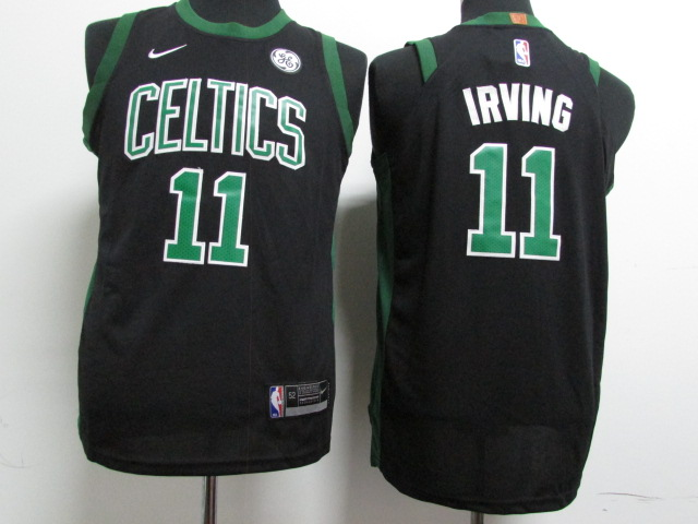 Youth Boston Celtics 11 Irving Black Game Nike NBA Jerseys