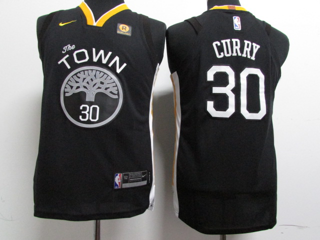 Youth Golden State Warriors 30 Curry Black Game Nike NBA Jerseys