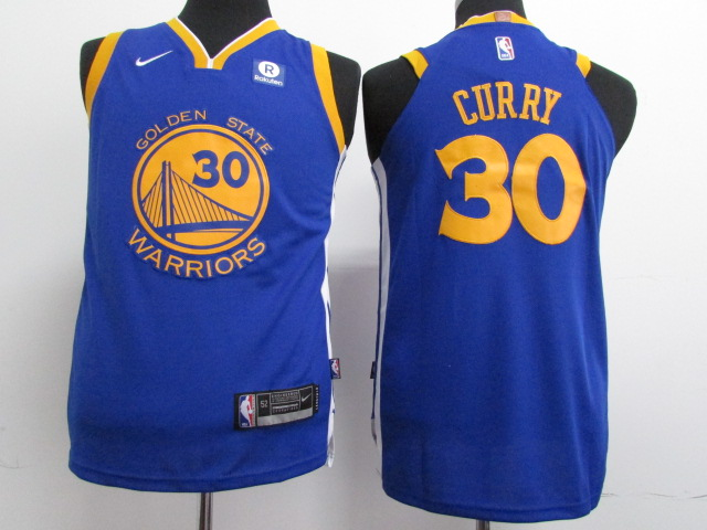Youth Golden State Warriors 30 Curry Blue Nike NBA Jerseys