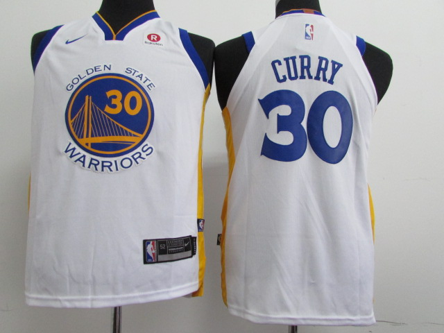 Youth Golden State Warriors 30 Curry White Nike NBA Jerseys