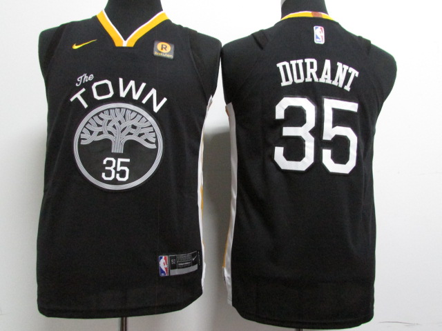 Youth Golden State Warriors 35 Durant Black Game Nike NBA Jerseys