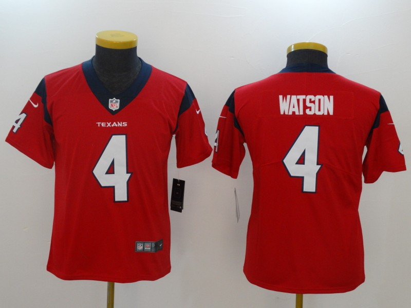 Youth Houston Texans 4 Watson Red Nike Vapor Untouchable Limited NFL Jerseys
