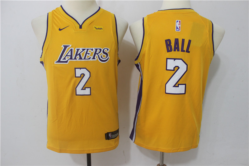 Youth Los Angeles Lakers 2 Ball Yellow Game Nike NBA Jerseys