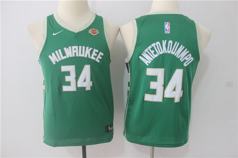 Youth Milwaukee Bucks 34 Antetokounmpo Green Game Nike NBA Jerseys