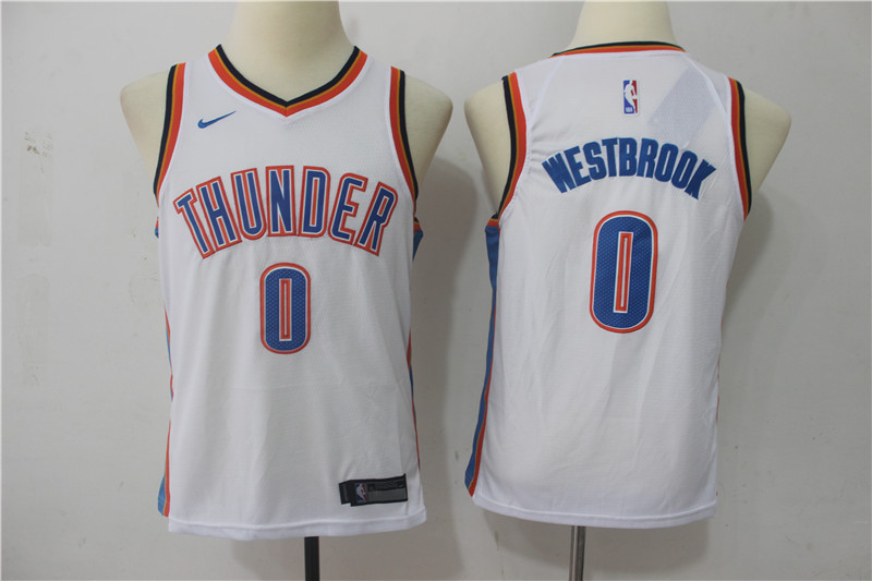 Youth Oklahoma City Thunder 0 Westbrook White Game Nike NBA Jerseys