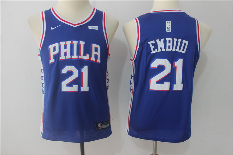 Youth Philadelphia 76ers 21 Embiid Blue Game Nike NBA Jerseys