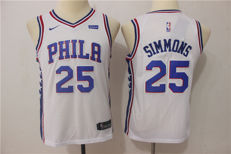 Youth Philadelphia 76ers 25 Simmons White Game Nike NBA Jerseys