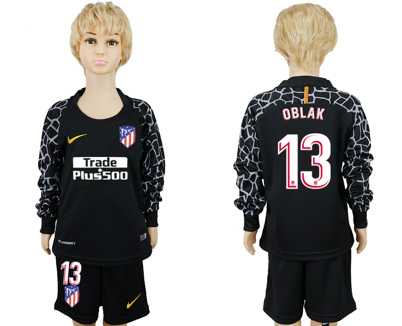 2017-2018 club Atletico Madrid goalkeeper black long sleeve kids 13 soccer jerseys