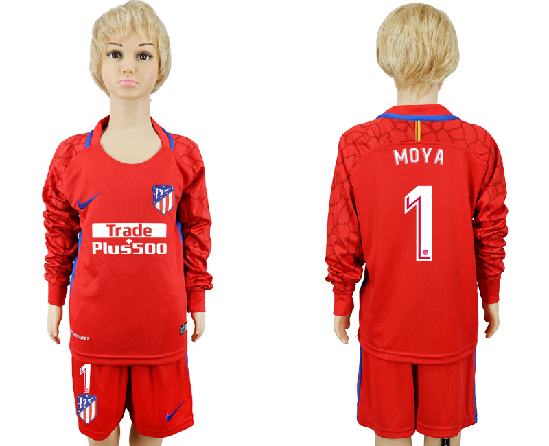 2017-2018 club Atletico Madrid gardien rouge à manches longues enfants 1 maillots de football