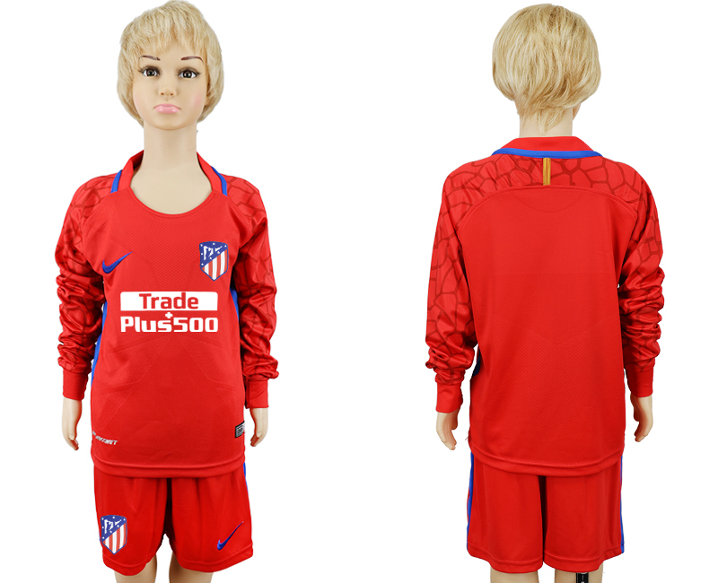 2017-2018 club Atletico Madrid red goalkeeper Long sleeve kids soccer jerseys
