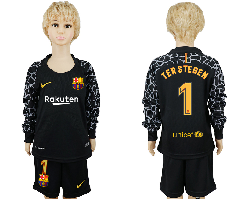 2017-2018 club Barcelona black goalkeeperlong sleeve kids 1 soccer jerseys