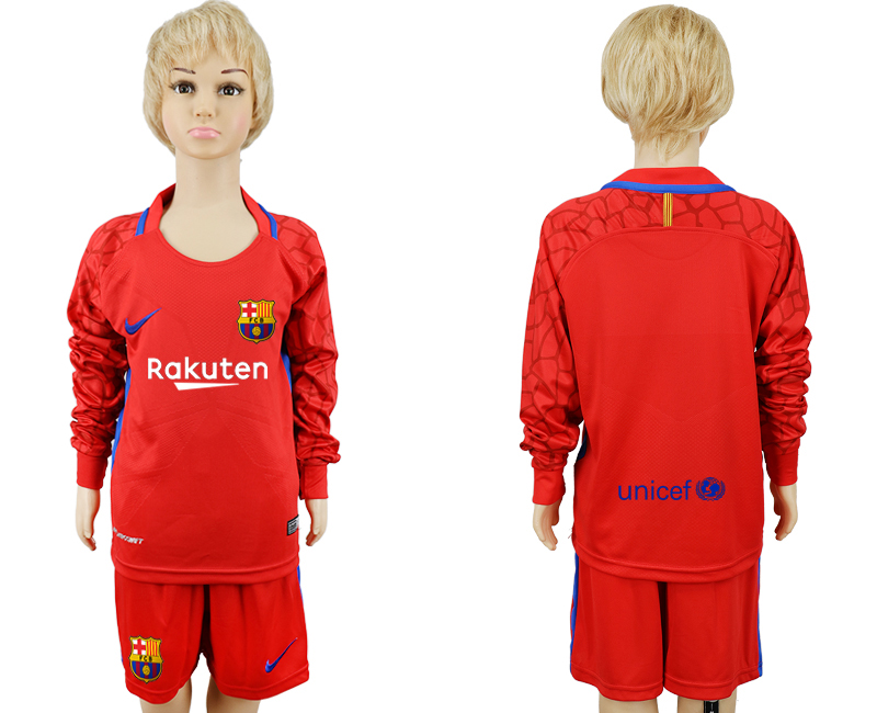 2017-2018 club Barcelona red goalkeeper Long sleeve kids soccer jerseys