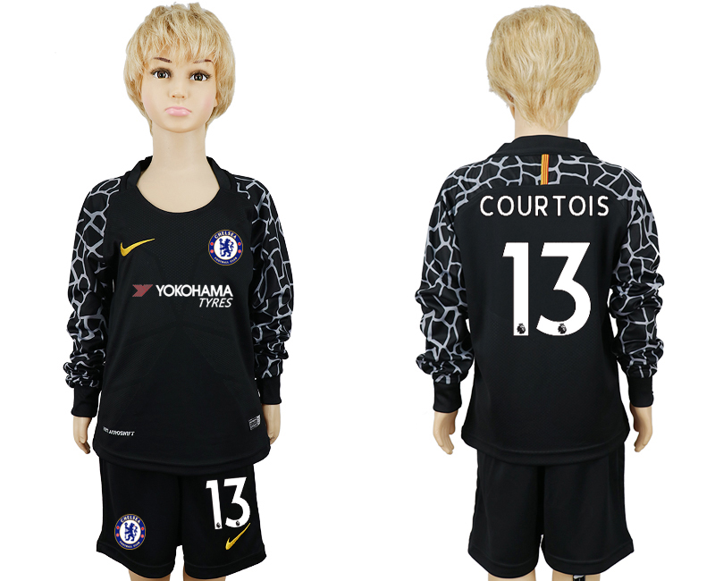 2017-2018 club Chelsea goalkeeper black long sleeve kids 13 soccer jerseys
