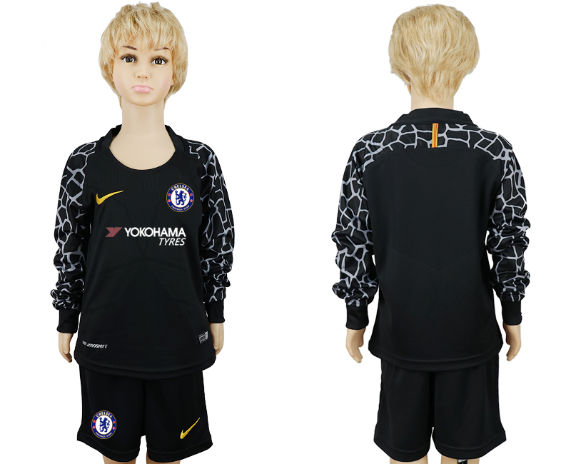 2017-2018 club Chelsea goalkeeper black long sleeve kids soccer jerseys