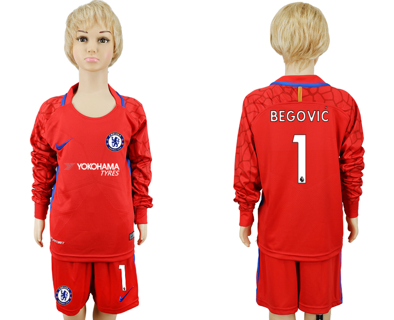 2017-2018 club Chelsea red goalkeeper Long sleeve kids 1 soccer jerseys
