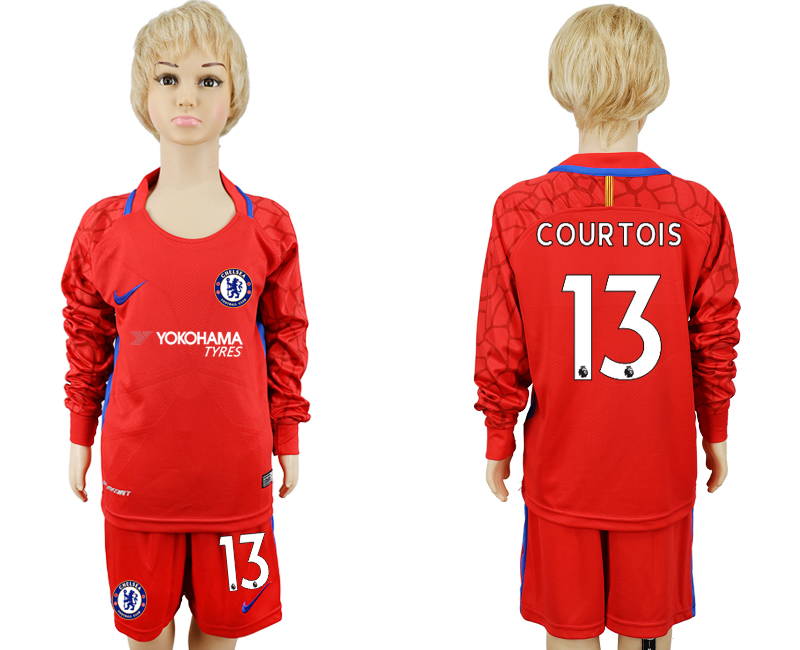 2017-2018 club Chelsea red goalkeeper Long sleeve kids 13 soccer jerseys