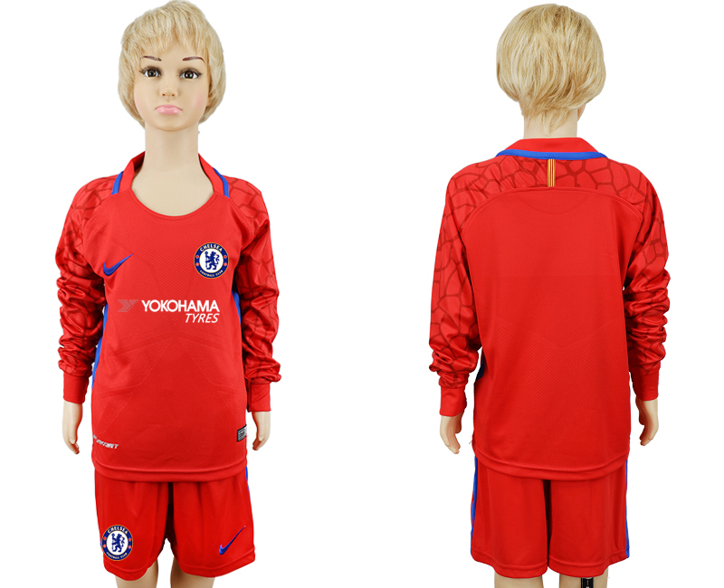 2017-2018 club Chelsea red goalkeeper Long sleeve kids soccer jerseys