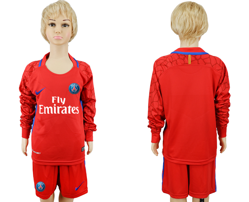 2017 2018 club paris saint germain red goalkeeper long sleeve youth soccer jersey