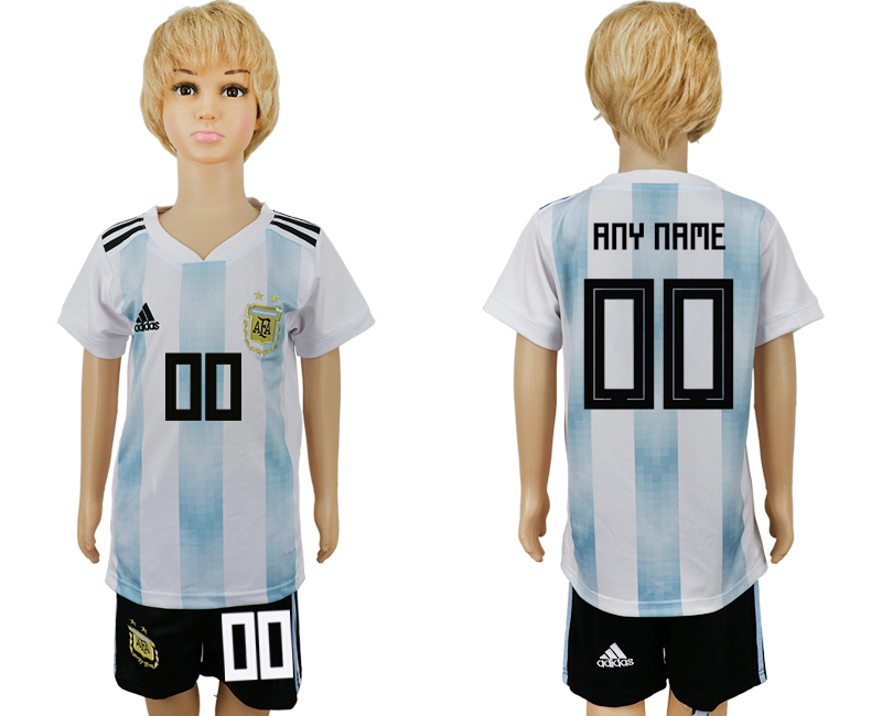 2018 World Cup Argentina home kids customized white soccer jersey