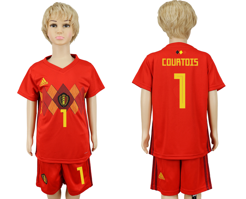 2018 World Cup Belgium home kids 1 red soccer jersey