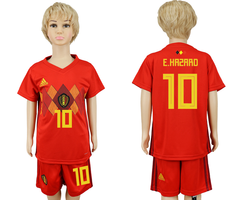 2018 World Cup Belgium home kids 10 red soccer jersey