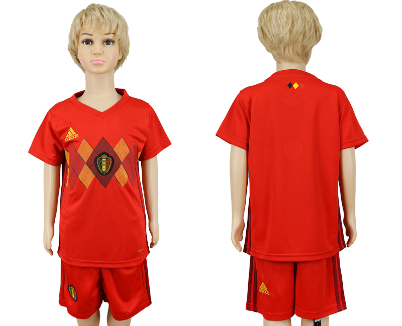 2018 World Cup Belgium home kids blank red soccer jersey