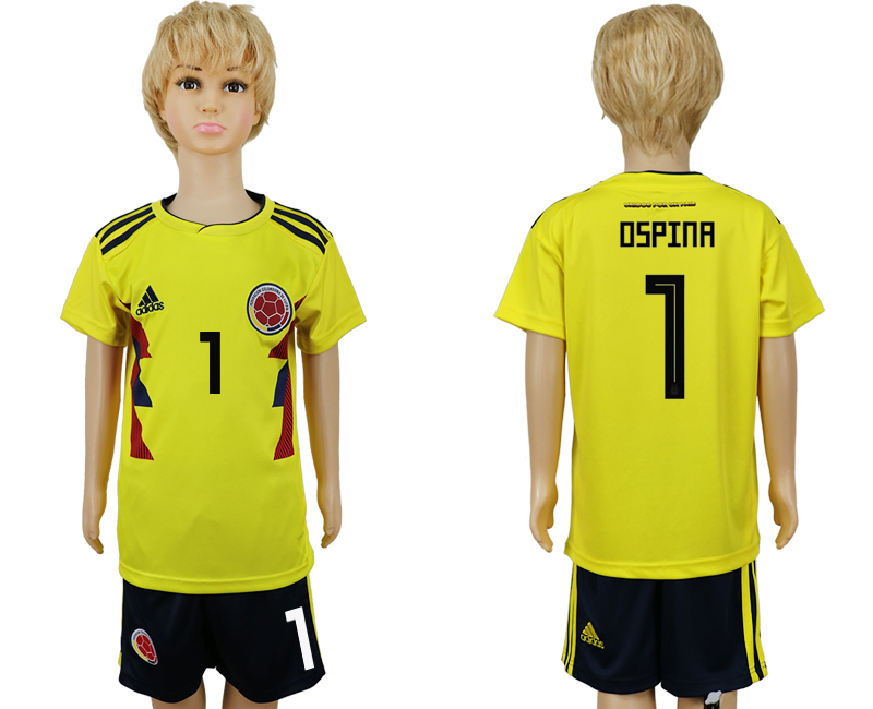 2018 World Cup Colombia home kids 1 yellow soccer jersey