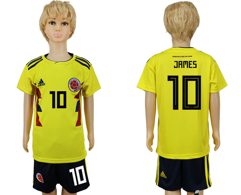 2018 World Cup Colombia home kids 10 yellow soccer jersey