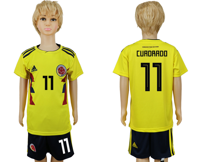 2018 World Cup Colombia home kids 11 yellow soccer jersey