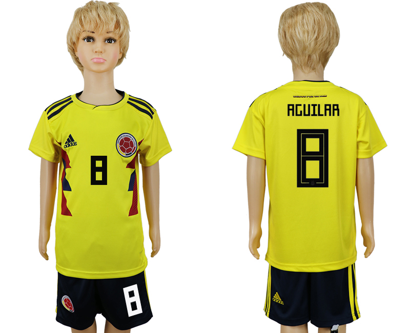2018 World Cup Colombia home kids 8 yellow soccer jersey