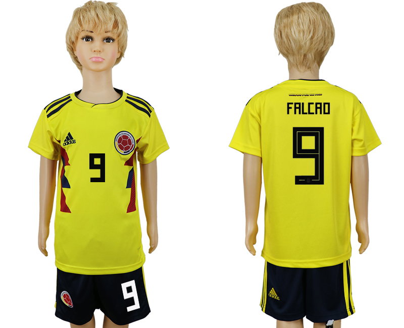 2018 World Cup Colombia home kids 9 yellow soccer jersey