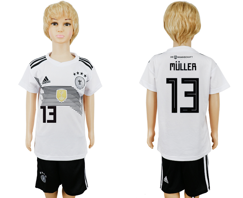 2018 World Cup Germany home kids 13 white soccer jersey1