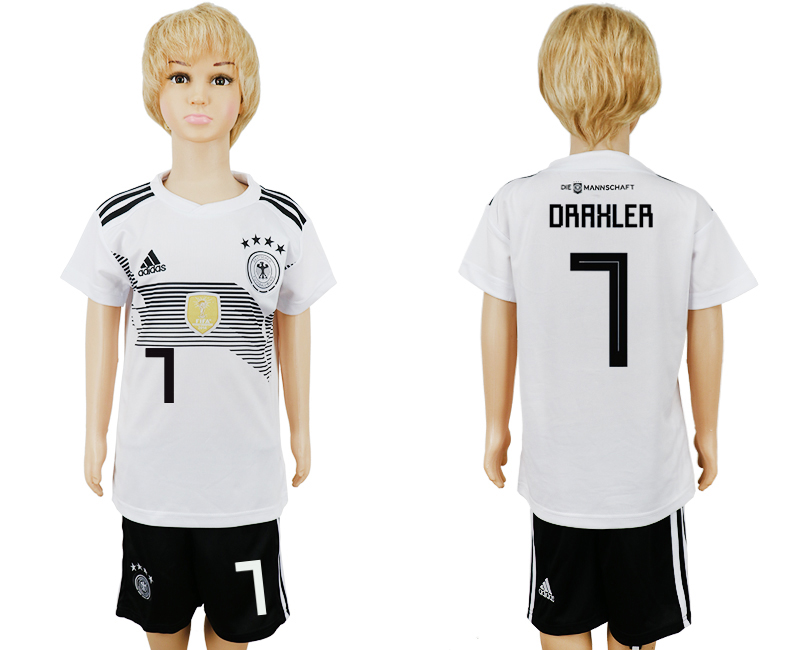 2018 World Cup Germany home kids 7 white soccer jersey1