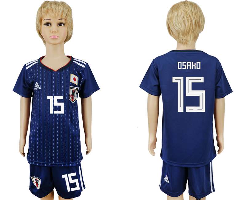 2018 World Cup Japan home kids 15 blue soccer jersey
