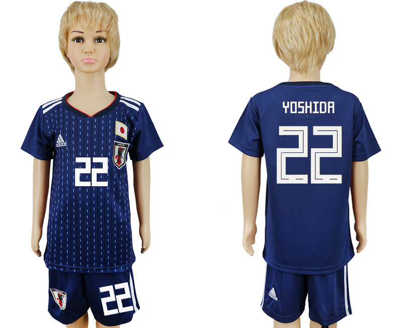 2018 World Cup Japan home kids 22 blue soccer jersey