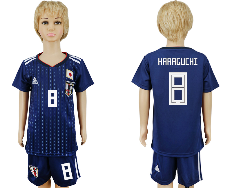 2018 World Cup Japan home kids 8 blue soccer jersey