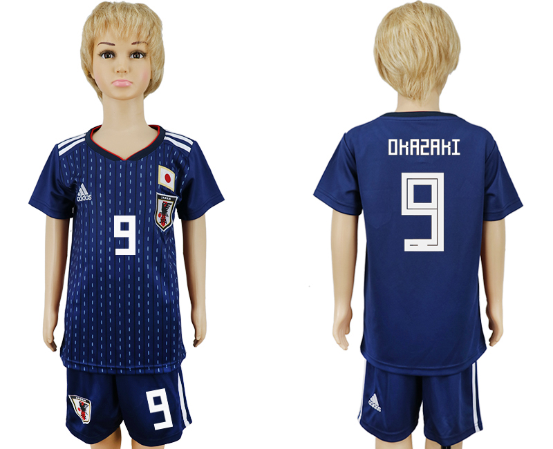2018 World Cup Japan home kids 9 blue soccer jersey
