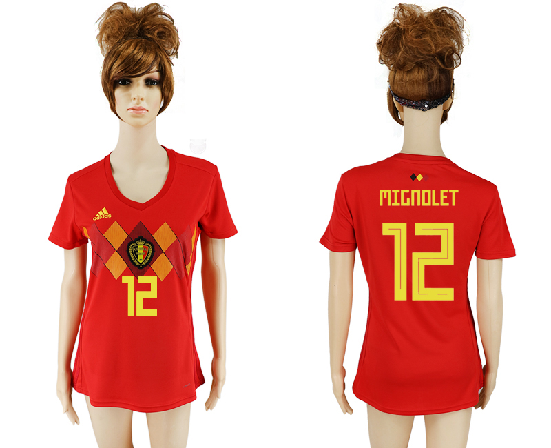 2018 World Cup National Belgium home aaa version women 12 soccer jersey